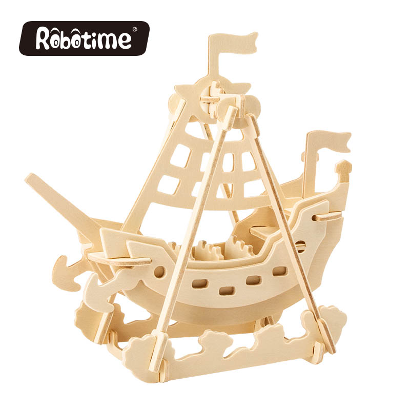 Robotime wooden puzzle toy JP264 Swing Boat DIY 3D wooden puzzle gift