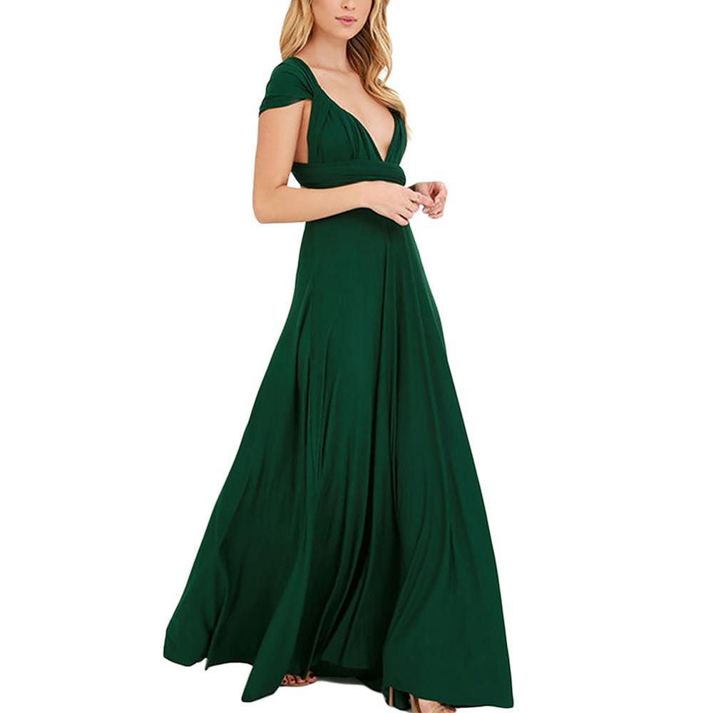 784a059da5e0d أحدث تصميم الظلام الأخضر v الرقبة متعدد طريقة الأشرطة السيدات يتوهم فستان  ماكسي طول الرسمي