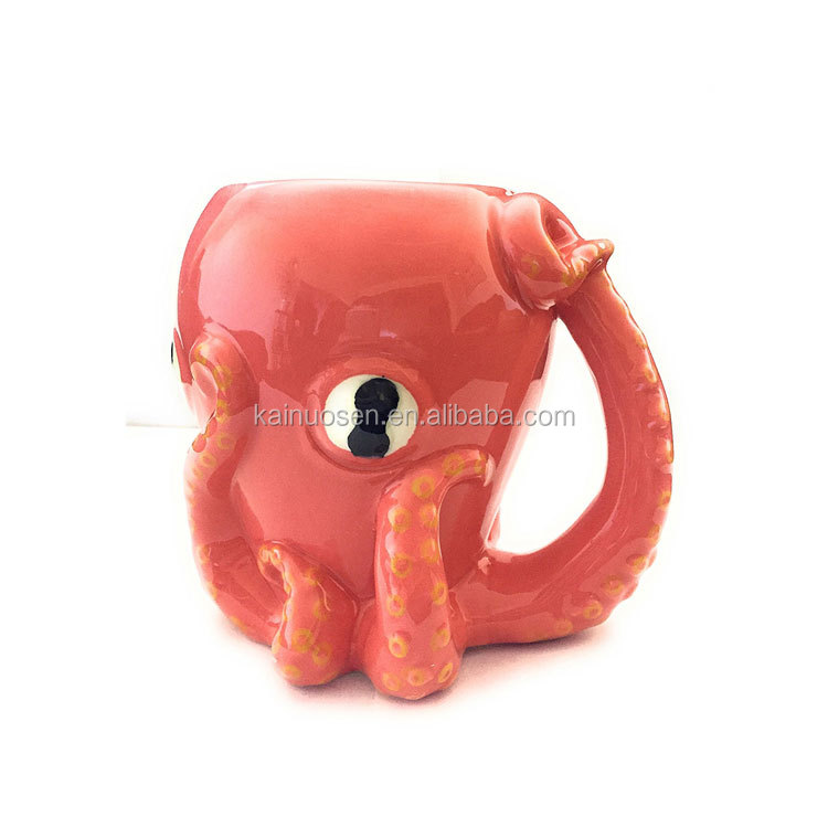 17oz 3D Pink Octopus Ceramic Coffee Mug with Tentacle Handle
