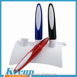 Imprinted Items 3 Colours Set Short Advertising Slogan Desk Pen with Branded Plastic Holder