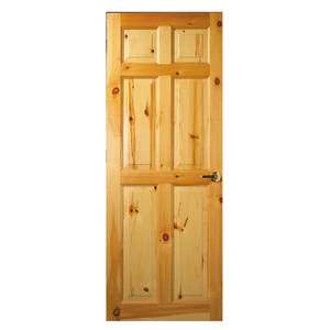 Cheap Price Interior 6 Panel Clear Flush Knotty Pine Solid Wood Door