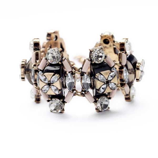 Name Brand Bracelets: Vintage Silver Plated JC Brand Name Crystal Luxury Pink