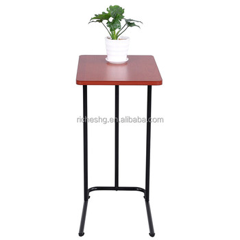 C Shape Metal Frame Legs Nested End Table Wholesale Wood Swivel Flip Top  Snack Side Table