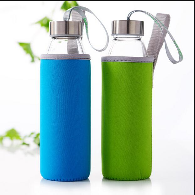 Premium 18 Ons Anti Bocor Kaca Botol Air dengan Neoprene Isolasi Lengan dan Stainless Steel