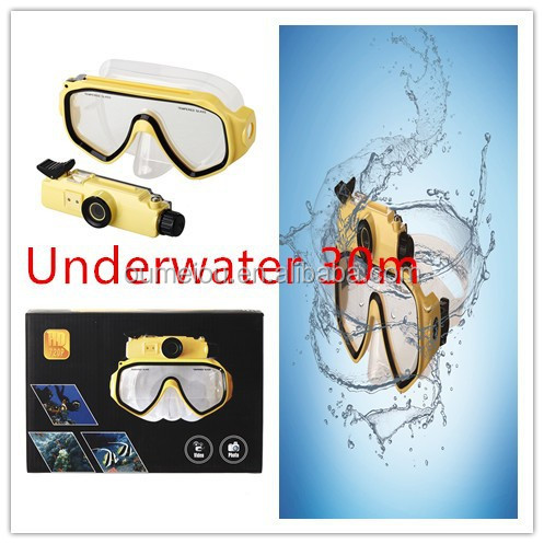 detachable swim goggle mask camera with snorkeling set for 30m diving