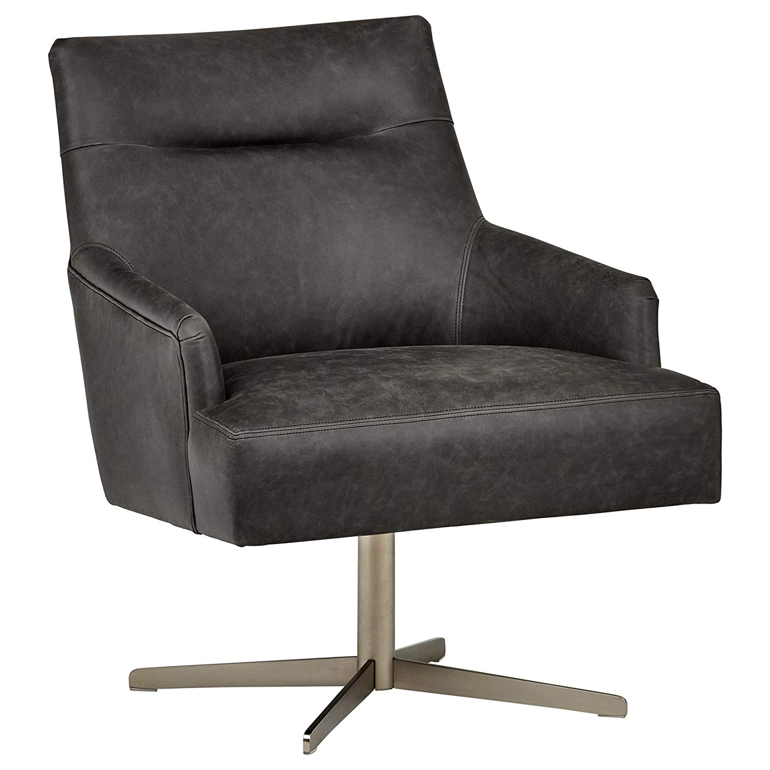"Rivet zane Mid-Century Modern Swivel Top-Grain Leather Chair, 28.75"" W, Aged Black"