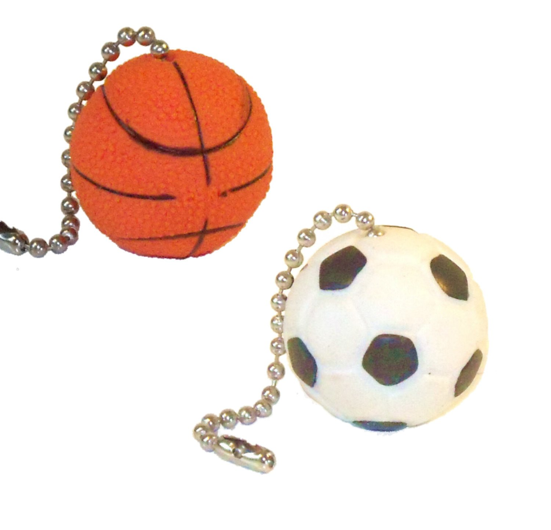 Sports Ball Ceiling Fan Pull Chains (Basketball Soccer Ball)