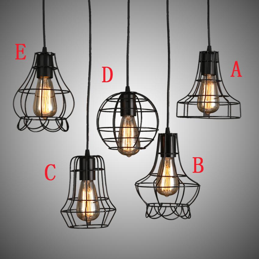 E27 vintage pendant lamp American Style cage pendant Light ...