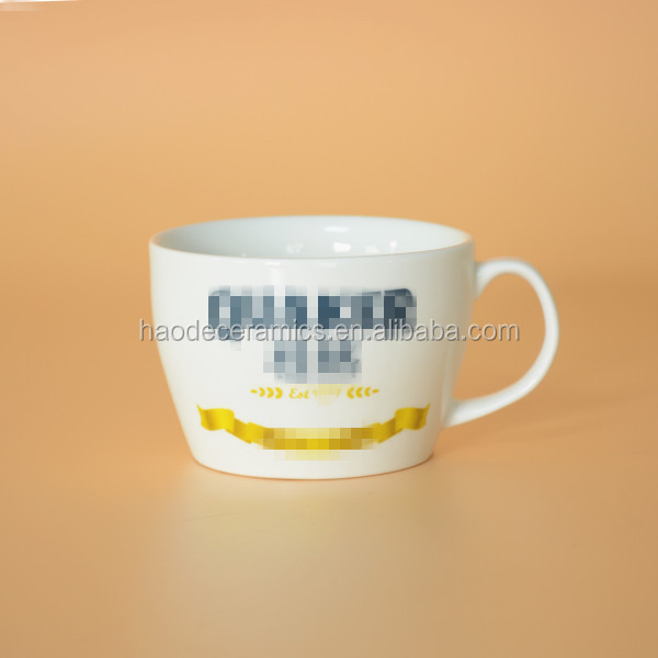 [ZIBO HAODE CERAMIC] custom logo design big white soup mug noodle mug