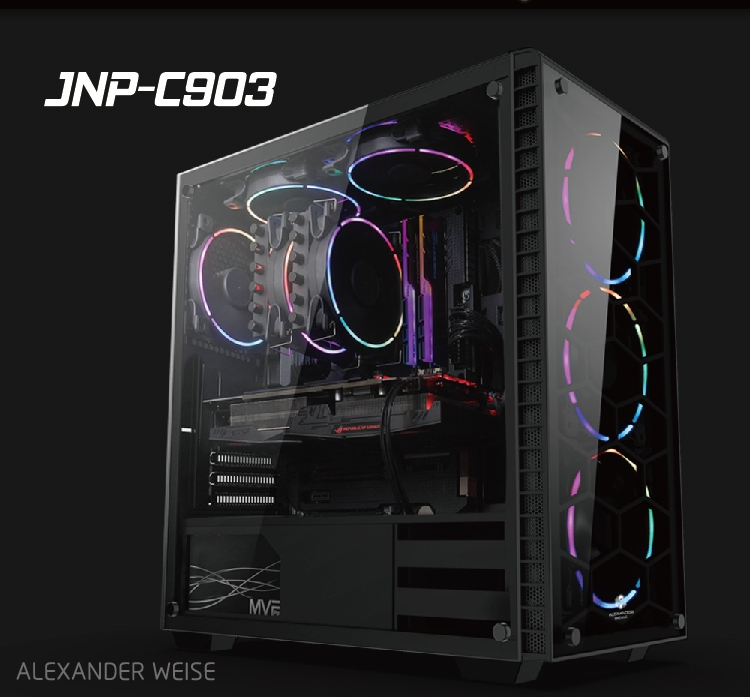 JNP-C701 Customized Water Cooling System Black PC Computer Gaming Case ATX With Standard computer case