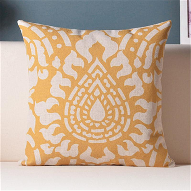 European Luxury golden yellow pattern home decor chair cushion stripe anchor starfish office decorative throw pillows sofa cojin