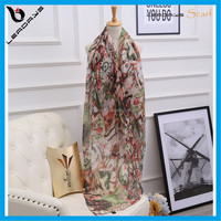 flower and lady printing best selling trendy silk scarf