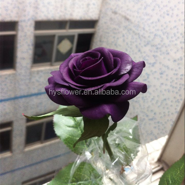 real touch small darkt purple rose artificial flower,single rose flower