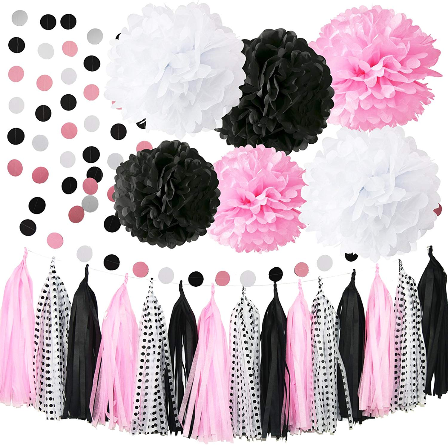 Minnie Mouse Party Decorations First Birthday DecorationsPink White Black Tissue Pom Circle Garland Tassel Sheets DIY