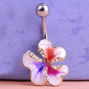 Gold Enamel Esmaltes Crystal Mix Color Flowers Belly Bar Body Piercing Jewelry