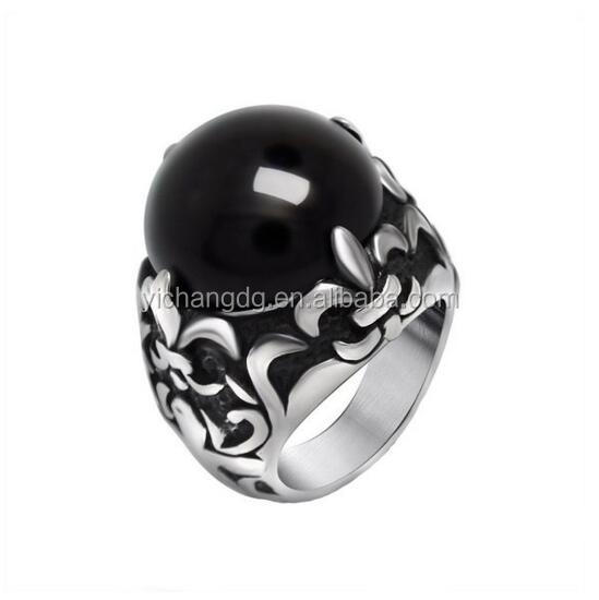 316l Stainless Steel Classical Exquisite Red Black Agate Couple Rings