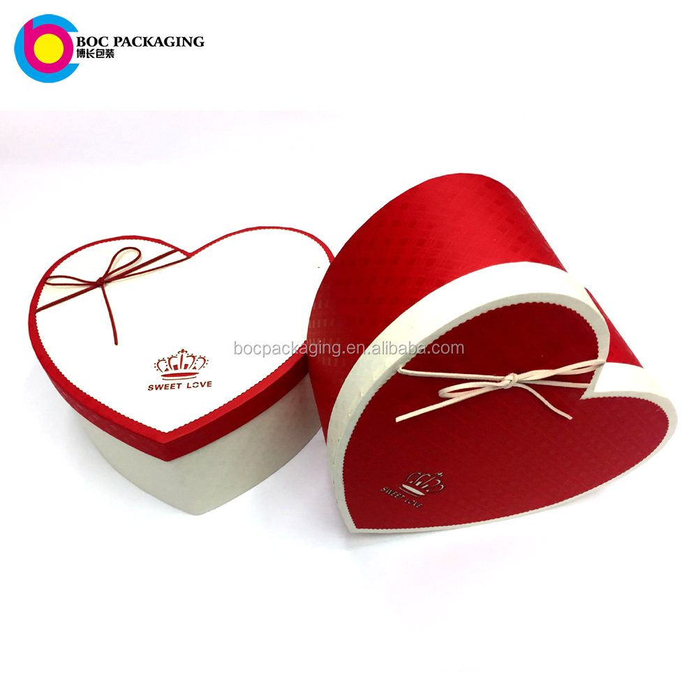 Custom made set 3 Cardboard valentine Day heart shaped gift paper box packaging