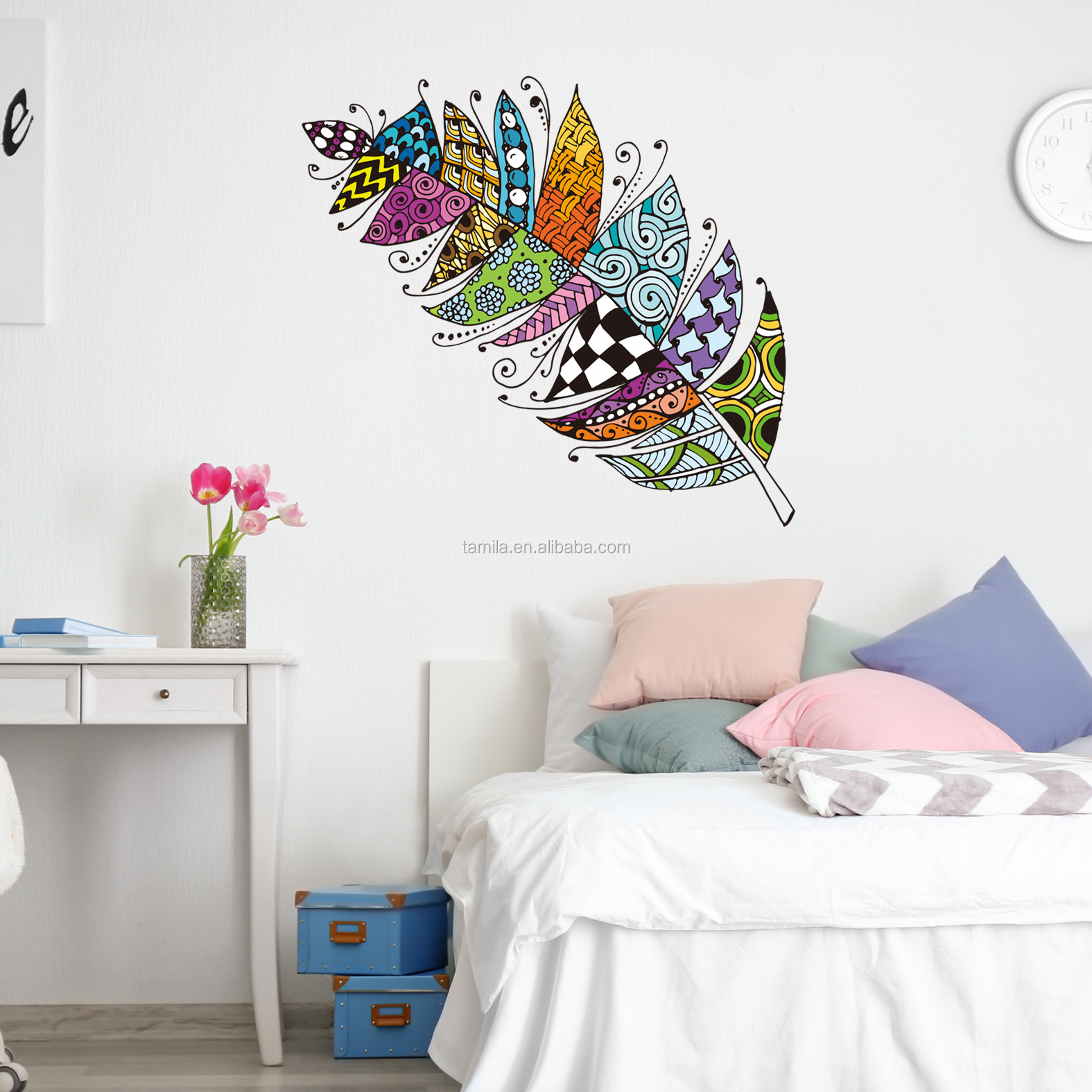 New hand painted feather wall stickers for kids bedroom living room fashion colorful wall decals modern home decor wallpaper
