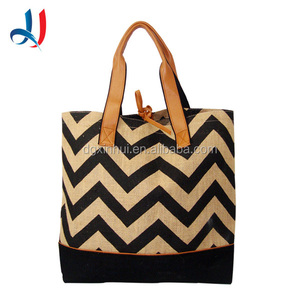 Wholesale Supermaket Trolley bag Reusable Jute Shopping bag Style Large Capacity Channel Bag With Clear PVC Lining