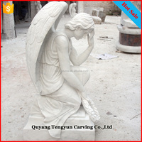 Hot sale life size white marble stone kneeling decorative grief cemetery angels