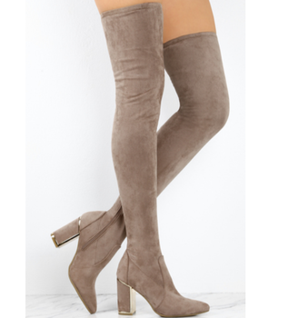 bdf71d36ac0 Woman winter high heel boots Taupe suede pointed toe chunky heel thigh high  boots