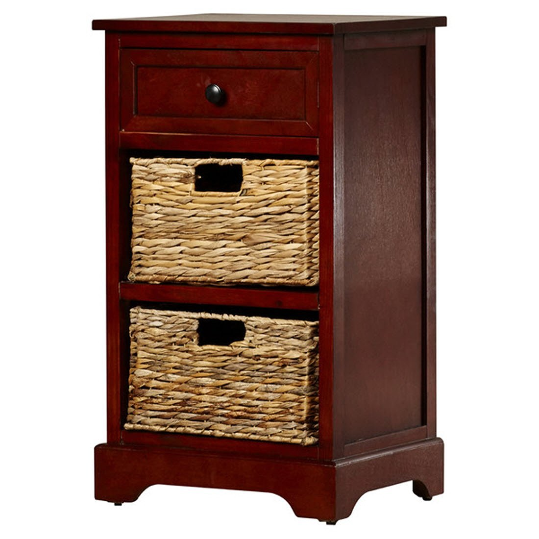 Nonatum Storage End Table- It Has 3 Drawers - Comes with Rattan Wicker Baskets - Rectangular Shape (Dark Cherry)