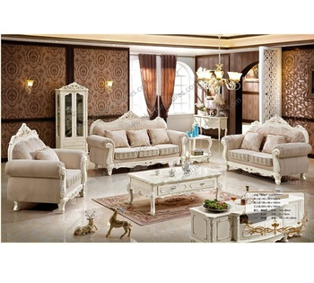 French Living Room Furniture Neo Classical Wooden 1 2 3 Sofa Set Designs