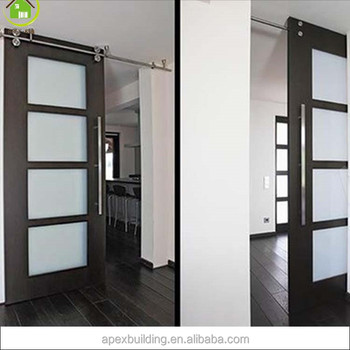 Glass Insert Wood Interior Door Tempered Glass Door Sliding Doors