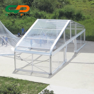 clear top plastic wedding curved tent with aluminum pole and PVC fabric for 500 people