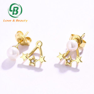 Gold plated freshwater pearl ear jacket 925 silver triple star earrings stud
