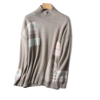 long sleeve computer knitting import wholesale clothing Plain turtle neck sweater high neck jacquard pure wool sweater women