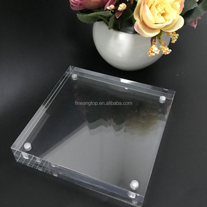 clear free standing 5x5 acrylic picture block magnetic photo frame