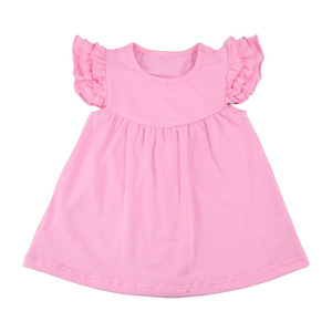 wholesale baby clothes girls pearl dress boutique girls solid color ruffle sleeve dresses