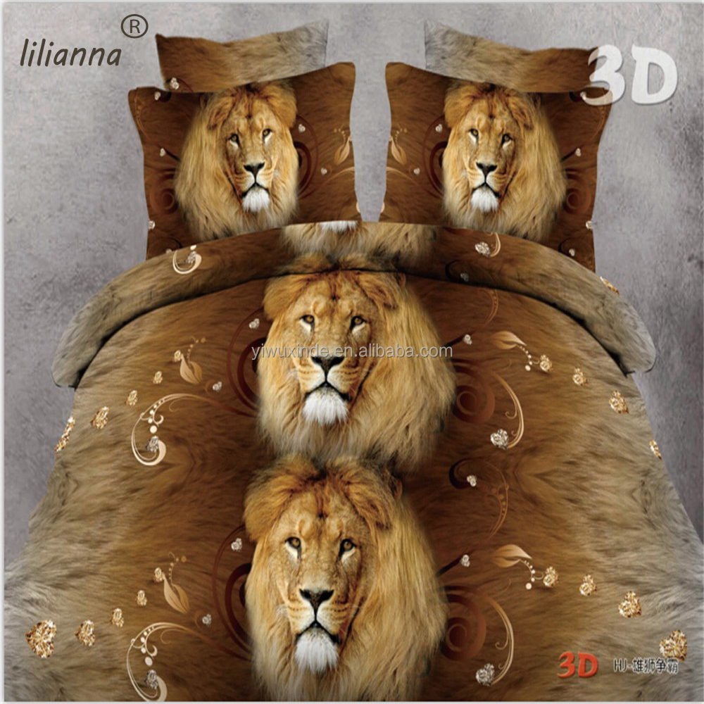 2016 Autumn and Winter LILIANNA lion head 3d bedding sets wholesale Chinese bedding sets