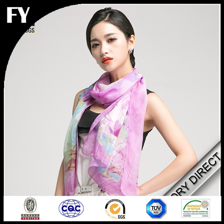 Factory custom design digital printing chinese silk scarf for women