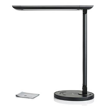 TaoTronics LED Desk Lamp Eye-caring Table Lamps, Dimmable Office Lamp with USB Charging Port, Touch Control, 5 Color Modes, Black, 12W