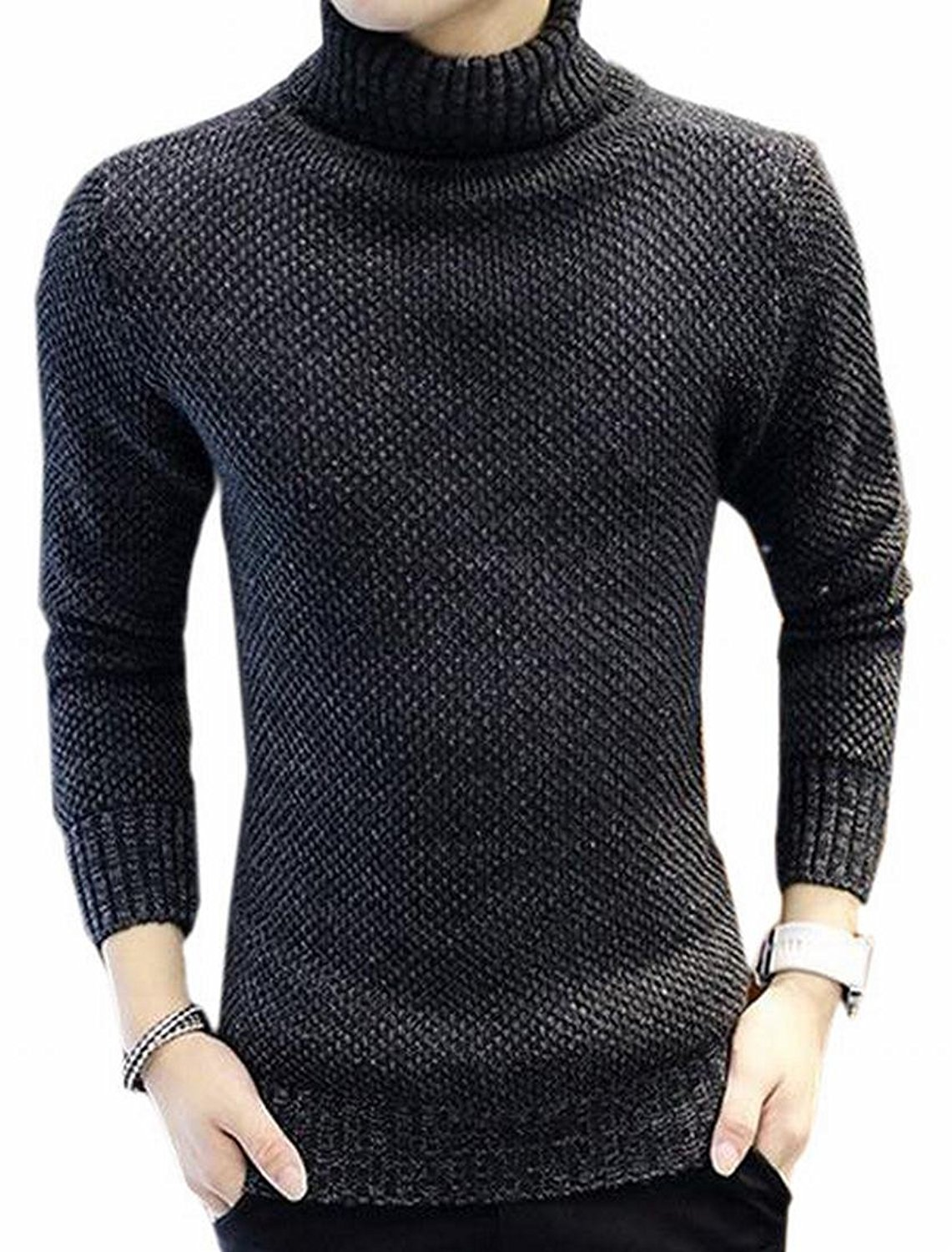 CBTLVSN Mens Casual Pullover Plus-Size Long-Sleeved Round Neck Slim Knit Sweater