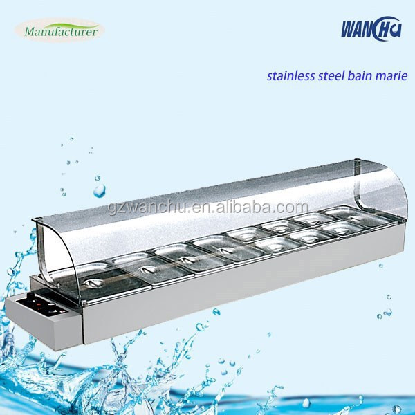 Counter Top Electric Food Warmer Bain Marie With Glass Cover