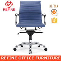 low back leather blue executive swivel office modern visitor chair with wheels RF-S075L