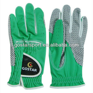 Green Synthetic Leather Golf Glove with Silicon Dot