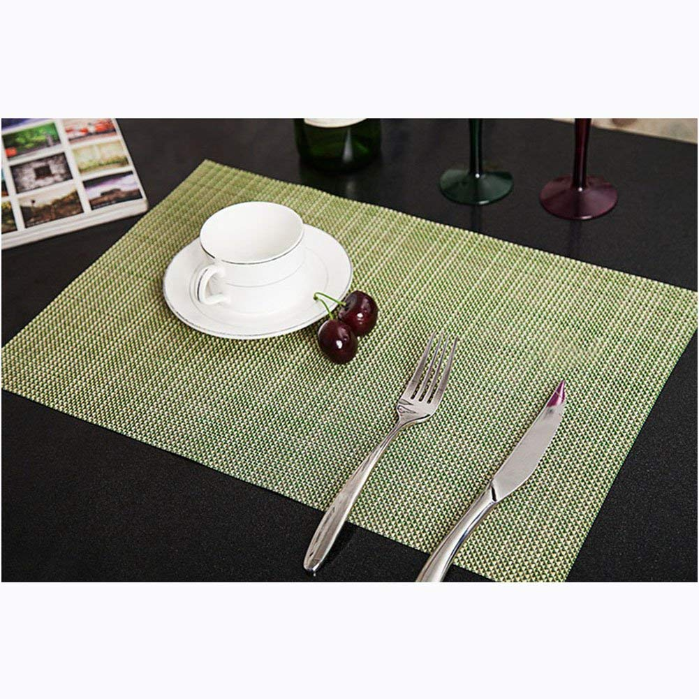 Kuke Colorful Home Waterproof Table Mats Placemats for Dining Table,Heat-resistant Placemats,Stain Resistant Washable PVC Table Mats,Hand-knit Placemates size 18 x 12in (Green)