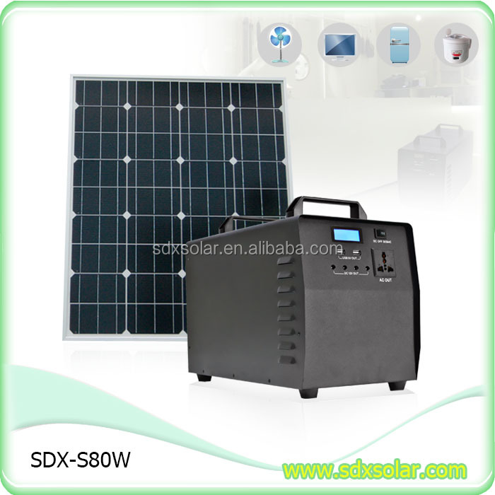 80W Offgrid Solar Kit DIY Fan Solar Energy Hibrid Systems 40Ah