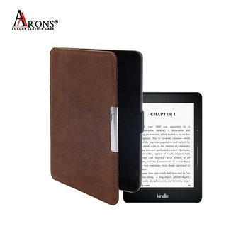 Anti Sleeping ereader leather case reasonable price metal universal tablet covers for Amazon Kindle Paperwhite