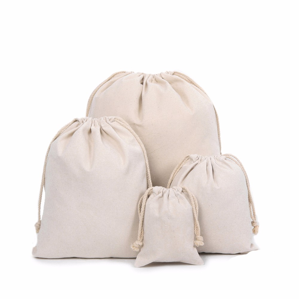 New Custom Nature Cotton Canvas Drawstring Bags With Thick Cotton ... 683f2a02814ab