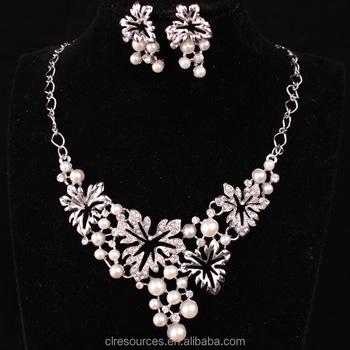 Fashion jewelry 2016 women most popular designer pearl jewelry set necklace  and earring set d253ccf01eac