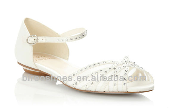 White Wedding Shoes Bridal No Heel Style We061 Flat Women Product On Alibaba