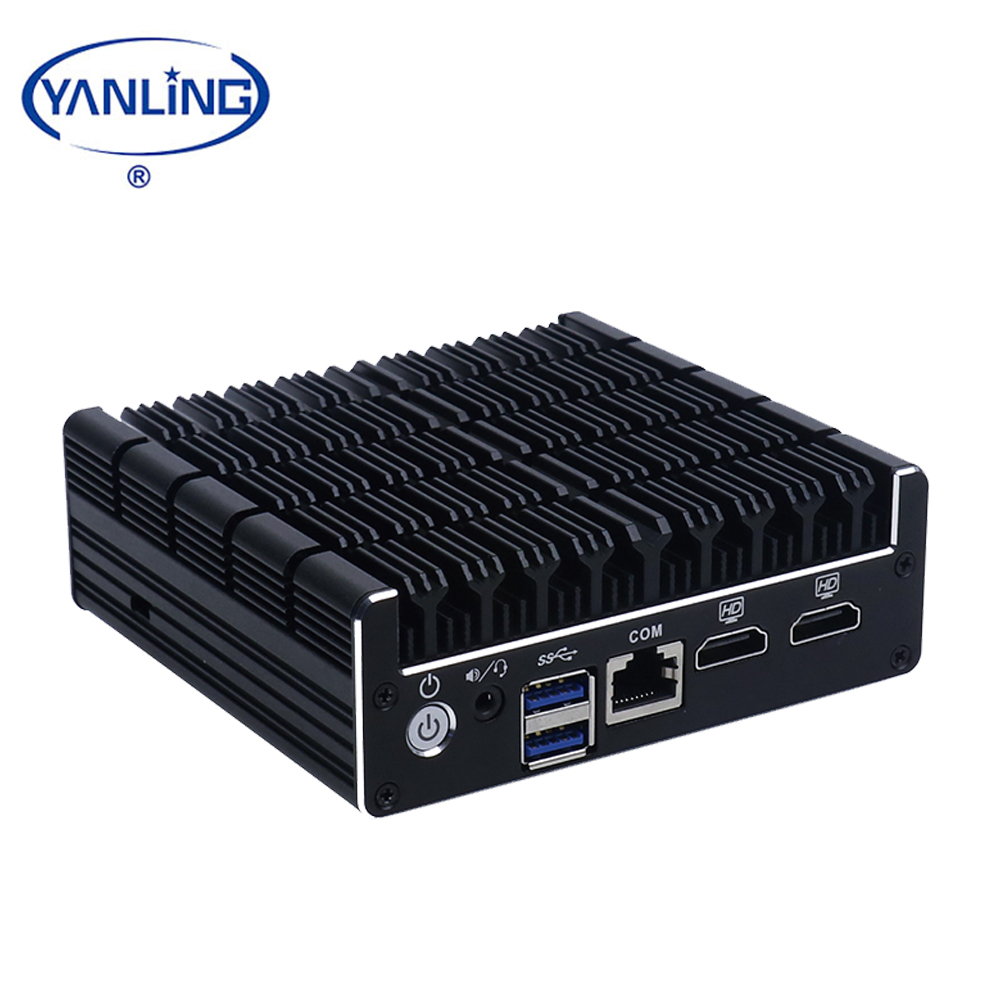 2018 Latest Computer Hardware Intel J3060 Dual Lan Fanless Mini PC Desktop Type With 6 USB for Home Theater