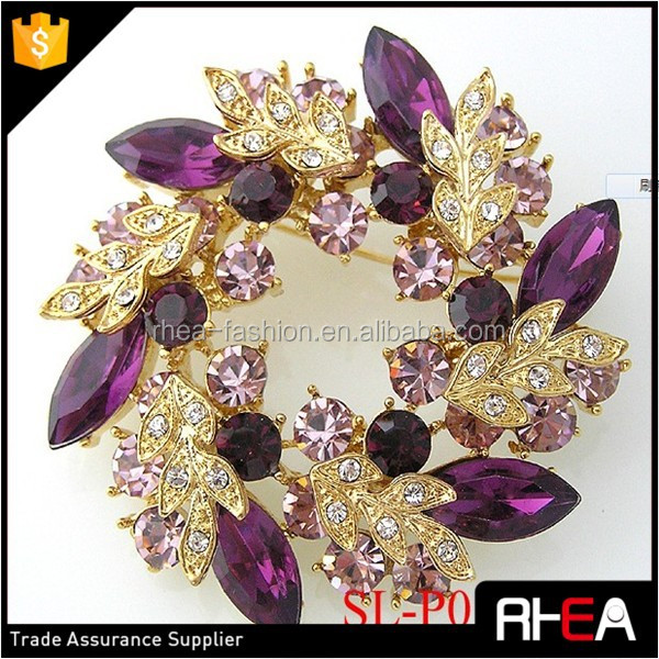 Antique Gold Purple Rhinestone Flower Brooch