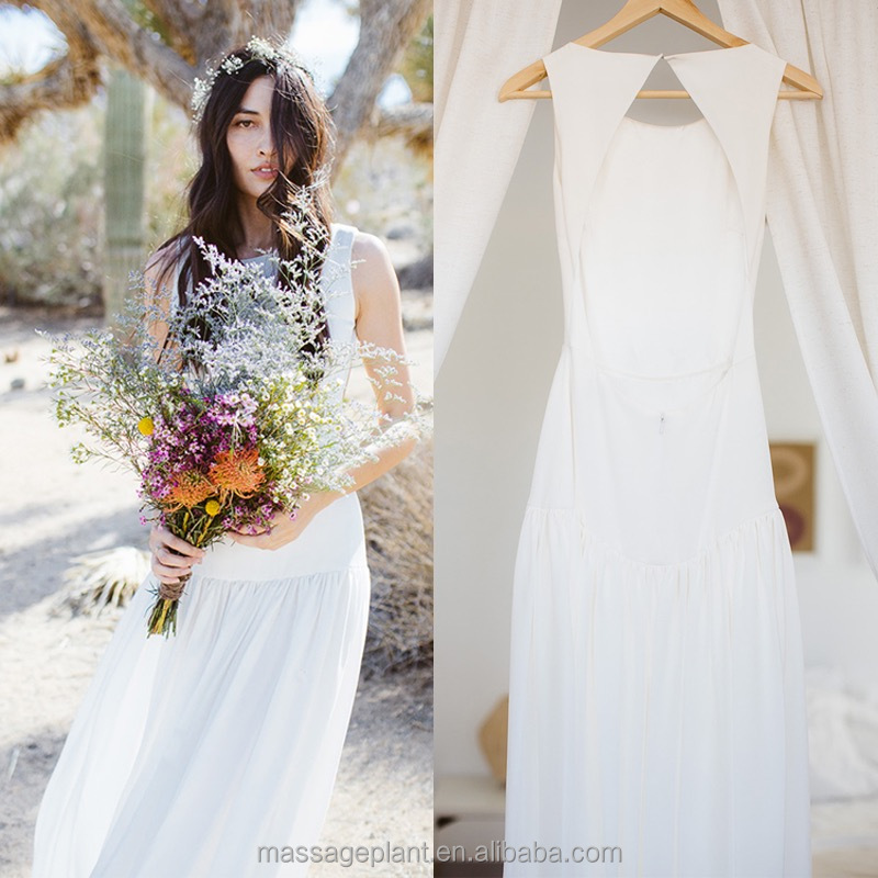 Handmade Simple bridal dress Boho gown Casual Wedding ceremony dress Ivory wedding dress Vintage gown