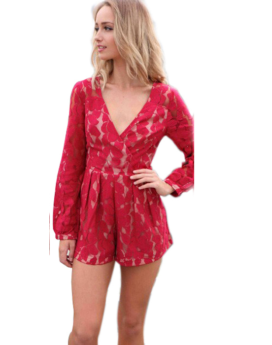 501be01dd5 Get Quotations · 2015 New Sexy Jumpsuit Red Deep V Long Sleeve Short Pants  Lace Jumpsuit Women Bodycon Jumpsuit